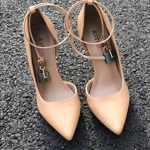 JustFab nude heels with lock accessory